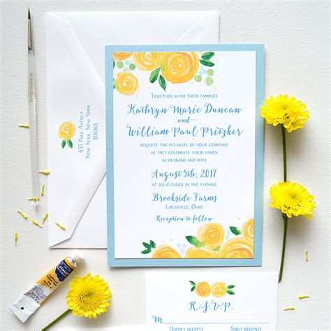yellow wedding invitations yellow blooms wedding invitations custom