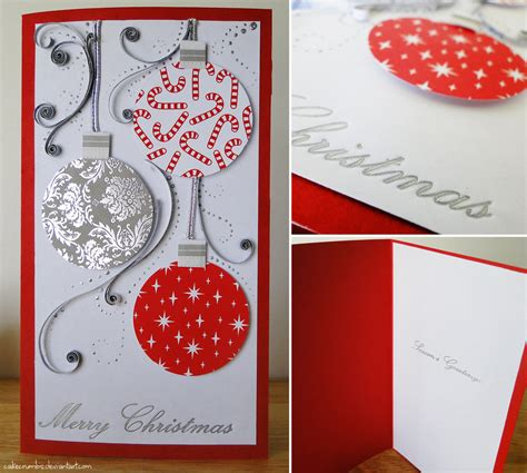 Handmade Photo Cards - handmade card baubles by cakecrumbs on deviantart