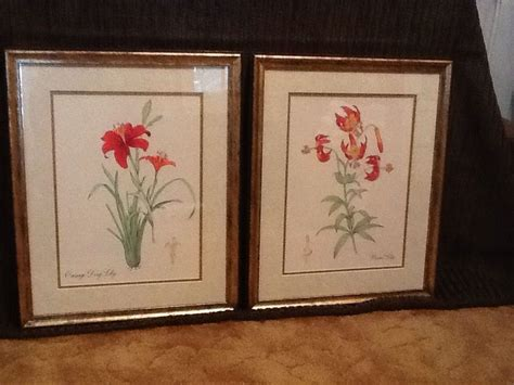Home Interiors And Gifts Framed Art | pair of tiger lily framed art prints new vintage home