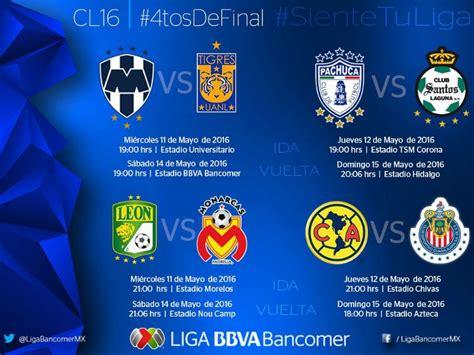 Calendario Dela Liga Mx Club America Liga Mx Anuncia Horarios Para Cuartos De De C2016