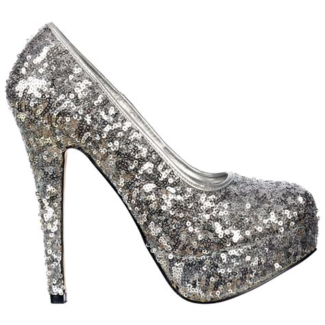 sequin high heel shoes shoekandi silver sparkly sequin high heel platform