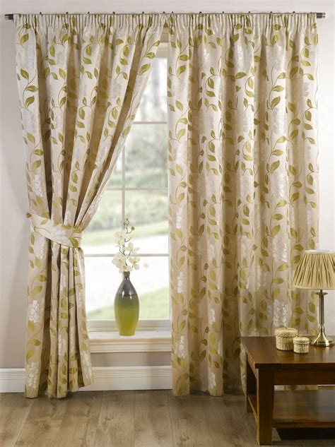 cream green and brown curtains stylish pencil pleat tape top lined flower pattern pair of