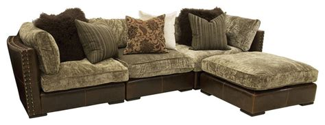 Chenille And Leather Sofa Aberdeen Chenille Leather 4 Sectional Sofa Craftsman Sectional Sofas By Zin Home