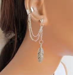 ear cuff jewelry ear cuff earrings silver chain large feather gift