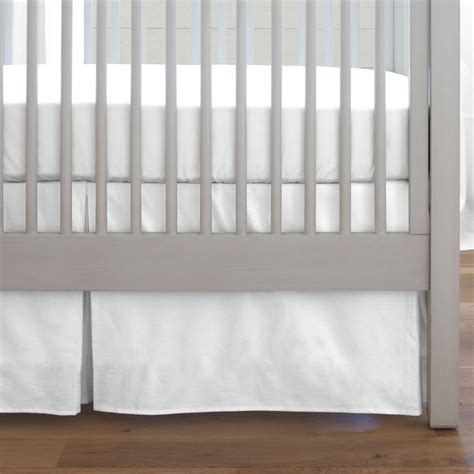 White Crib Bed Skirt solid white crib skirt box pleat carousel designs