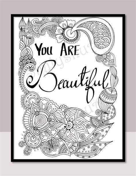 gogh coloring book grayscale coloring for relaxation coloring book therapy creative grayscale coloring books you are beautiful instant printable motivational