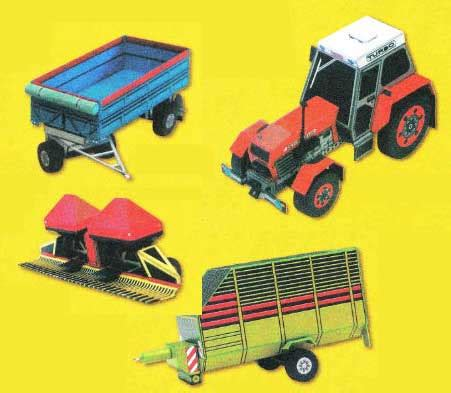 Origami Tractor - tractor with collector car trailer and sowing machine
