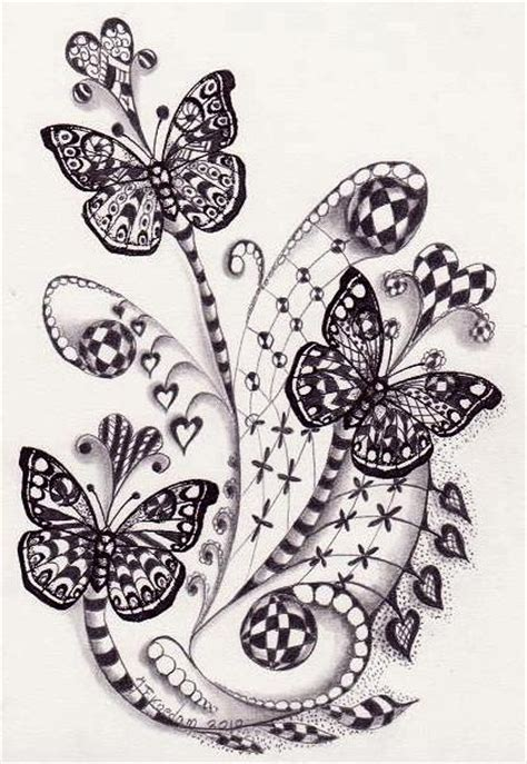 doodle pattern butterfly butterflies pretty tattoos and quilling on pinterest