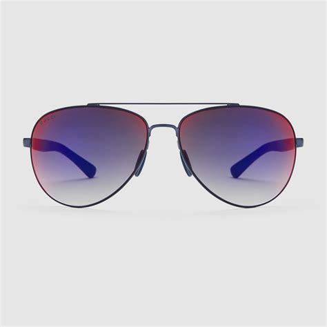 Metal Aviator Sunglasses lyst gucci light metal aviator sunglasses in blue for