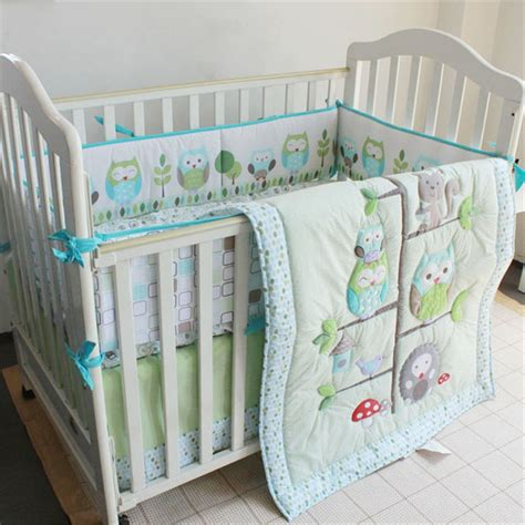 baby nursery bedding sets moonpalace green owl tree baby crib nursery bedding set baby boy nature bedding 4pc crib