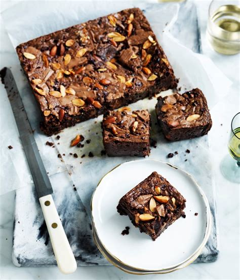Brownies Almond gourmet traveller recipe for choc malt and almond brownie