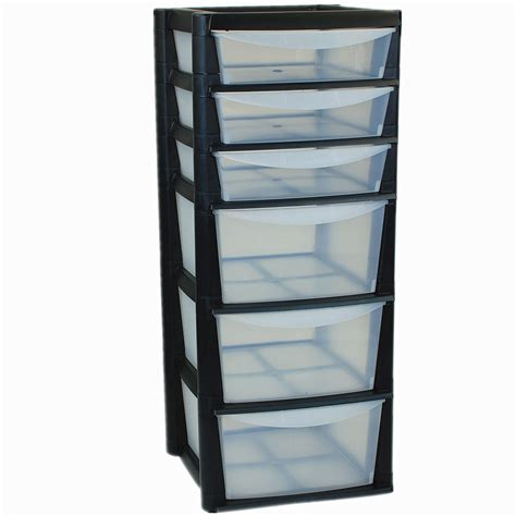 large 6 drawer tower storage plastic draw organiser