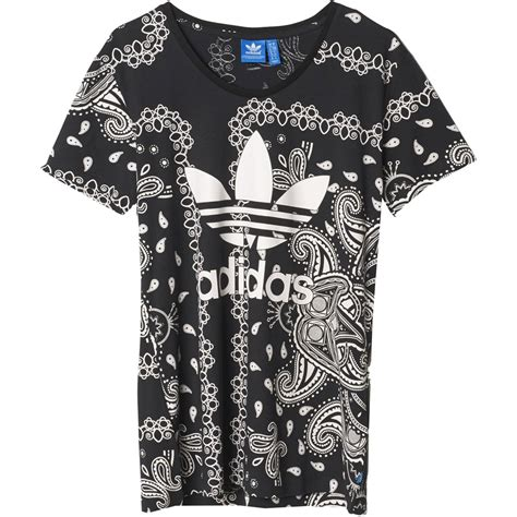 Adidas T Shirt Damen 2558 by Adidas Originals Paisley Damen Shirt Ai4368 Black