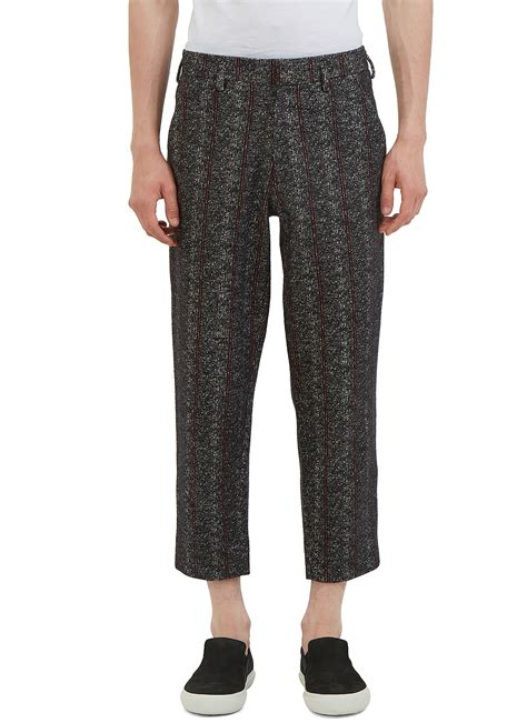 black patterned pants aganovich men s patterned wide leg cropped pants in black