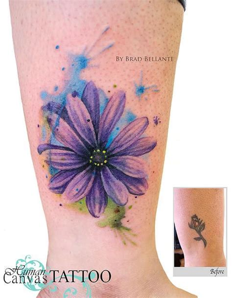 human canvas tattoo watercolor flower cover up human canvas