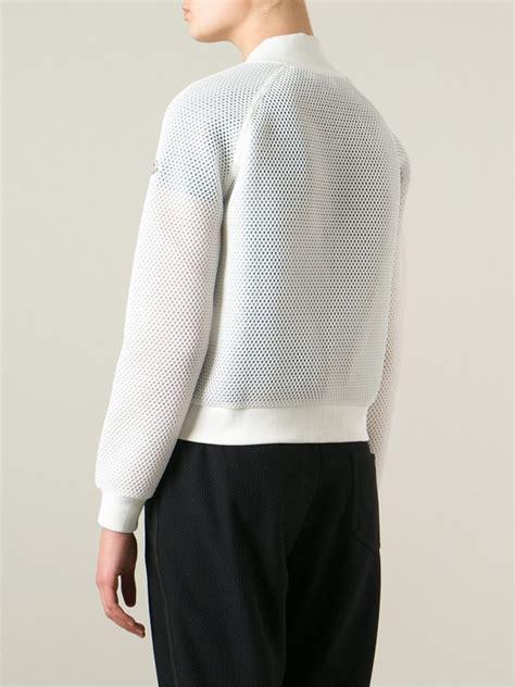 Mesh Outerwear moncler mesh bomber jacket in white lyst