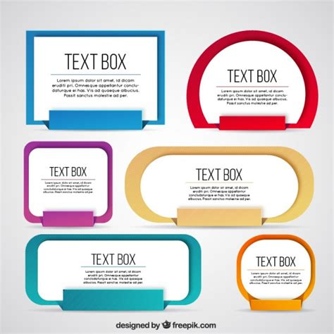 text templates collection of colored text box vector free