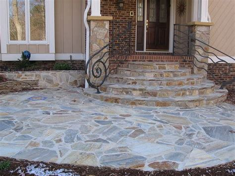 stone columns  flagstone steps  walkway   front   home  southwest raleigh
