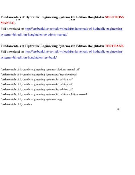 Fundamentals Of Hydraulic Engineering Systems 4th Edition