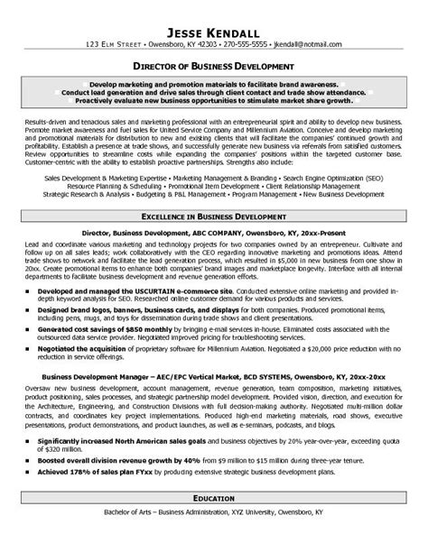 Resume Sles For Business Students Exle Director Of Business Development Resume Free Sle