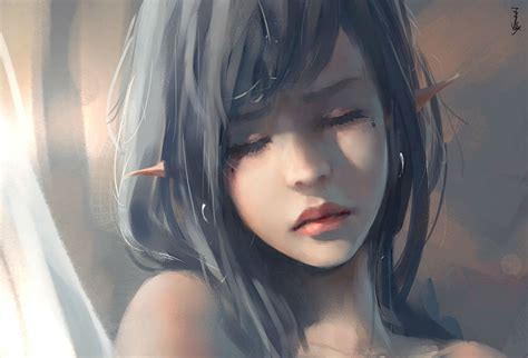 wallpaper anime realistic female ghostblade jpeg artifacts long hair original