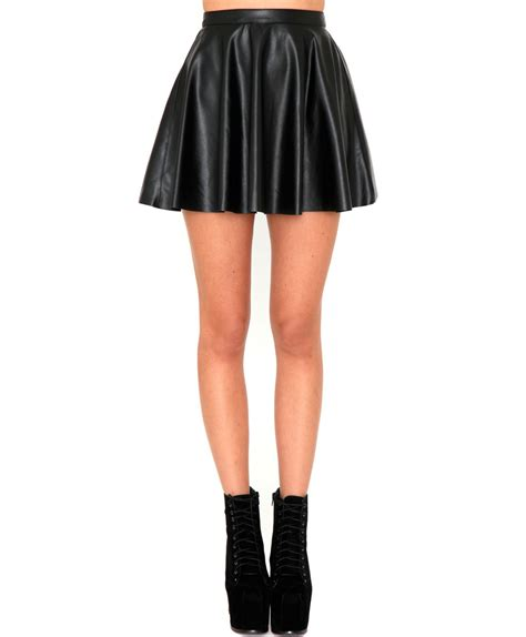 missguided emilie faux leather skater skirt in black lyst