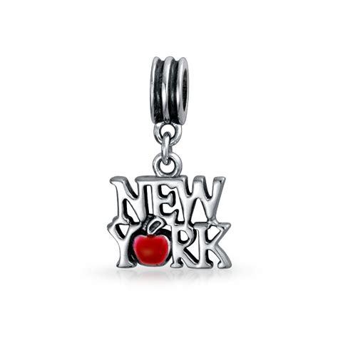 925 silver new york enamel apple dangle charm fits pandora
