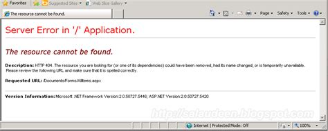 the resource cannot be found server error in application the resource cannot be