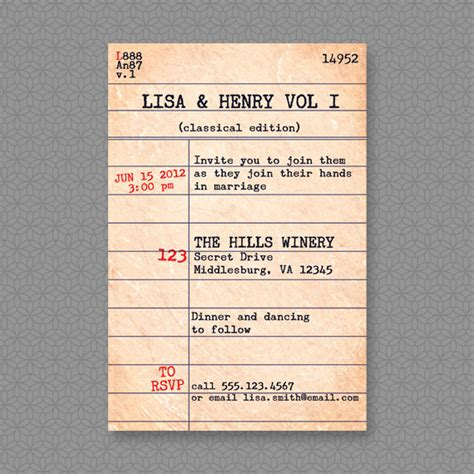 Library Catalog Card Template by Best Ideas Library Card Invitation Template