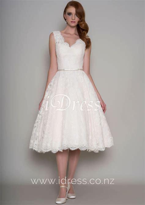 Wedding Dresses Tea Length by V Neck Sleeveless Sheer Lace Vintage A Line Tea Length
