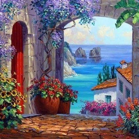 Mediterrane Bilder Gemalt by Pin Lavender Smell Auf Acrylic Canvas Painting