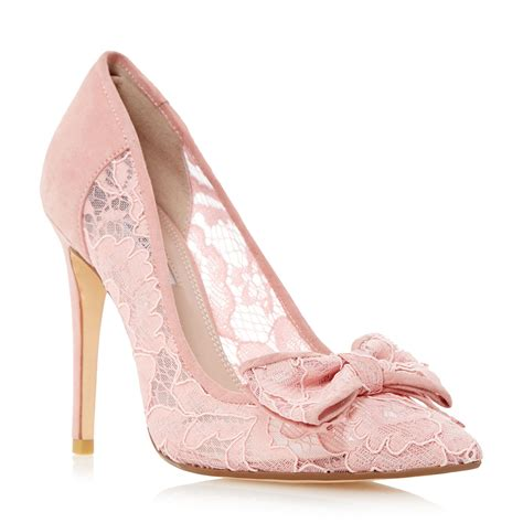 dune bodine lace bow high heel court shoes in pink lyst