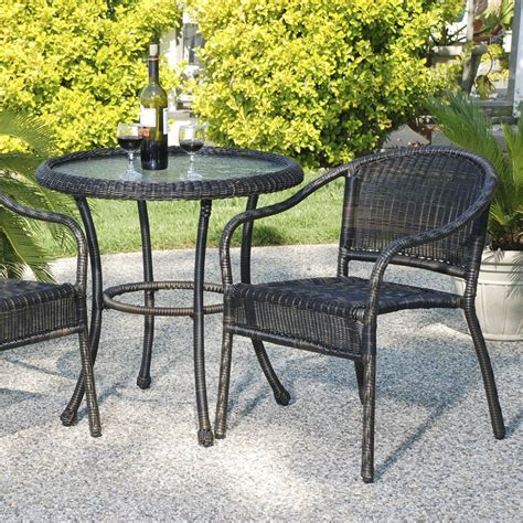 Hayneedle Patio Furniture Harbor All Weather Wicker Bistro Set Patio Dining Sets At Hayneedle