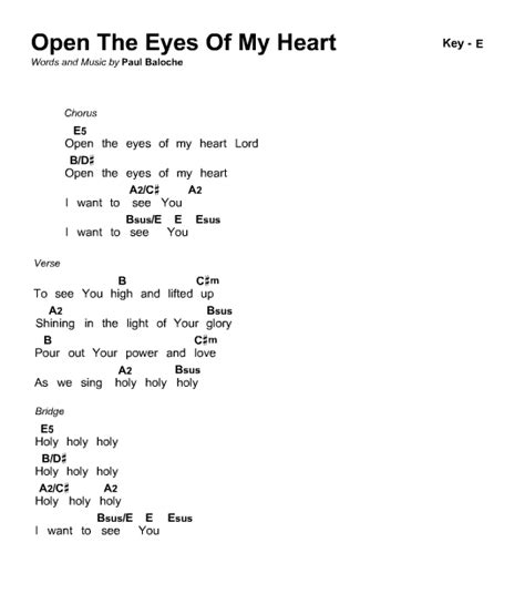 Open The Eyes Of My Heart Lord Guitar Chords
