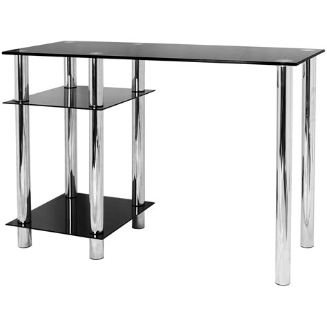 hartleys black glass computer desk base unit shelf