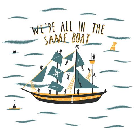 on the same boat all in the same boat illustrated print by alex foster