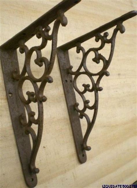Rustic Wrought Iron Shelf Brackets by 2 Rustic Ornate Shelf Brackets 2nds Corbel 5 5x7 5 Cast Iron Door Window Decor Ebay