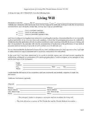 Printable Living Will Form Freepsychiclovereadings Com Free Florida Will Templates