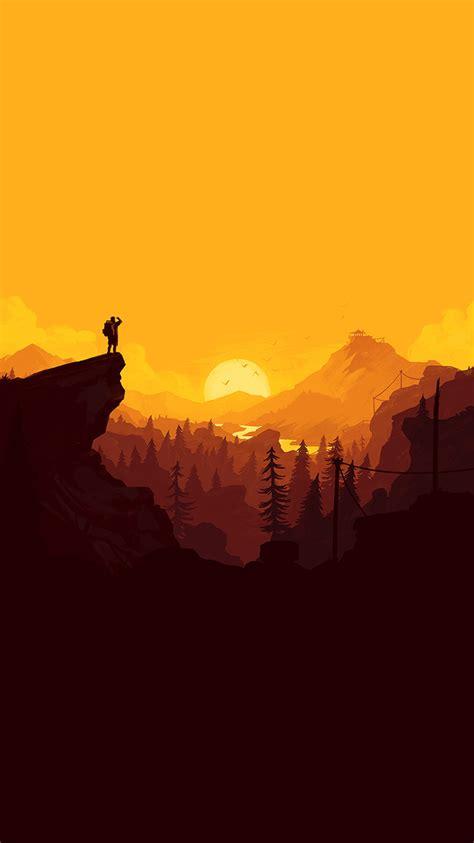 au nature sunset simple minimal illustration art wallpaper