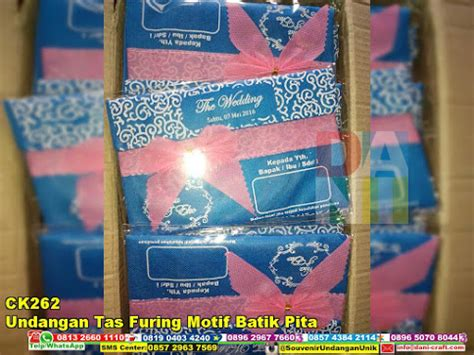 Undangan Tas Murah Motif Batik undangan tas furing motif batik pita souvenir pernikahan