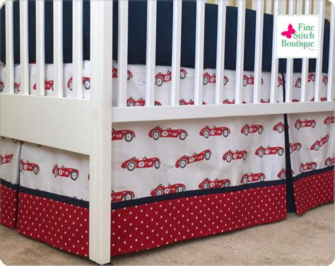 17 Red Vintage Race Cars Baby Boy Crib Skirt By Baby Boy Crib Skirts