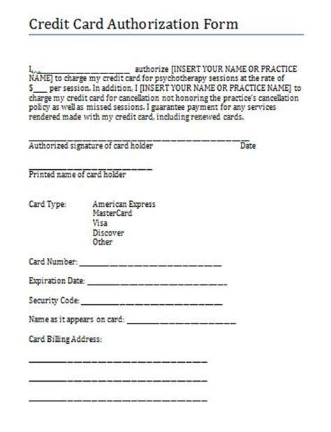 credit card authorization and consent form for therapy practice free counseling note templates