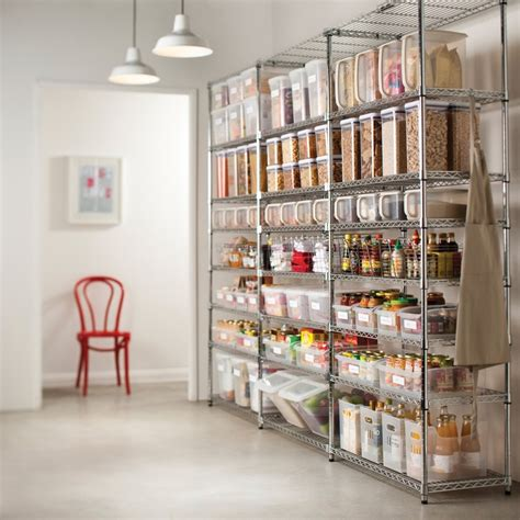 Organizing A Pantry With Wire Shelves by Organize Pantry Using Metro Shelving And Plastic Oxo