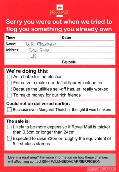 Royal Mail Address Search Royal Mail Privatisation New While You Were Out Cards Issued Picture