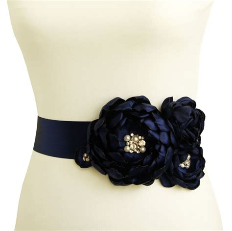 Dress Navy Flower With Belt items similar to navy blue bridal sash wedding belt nautical wedding flower sash with