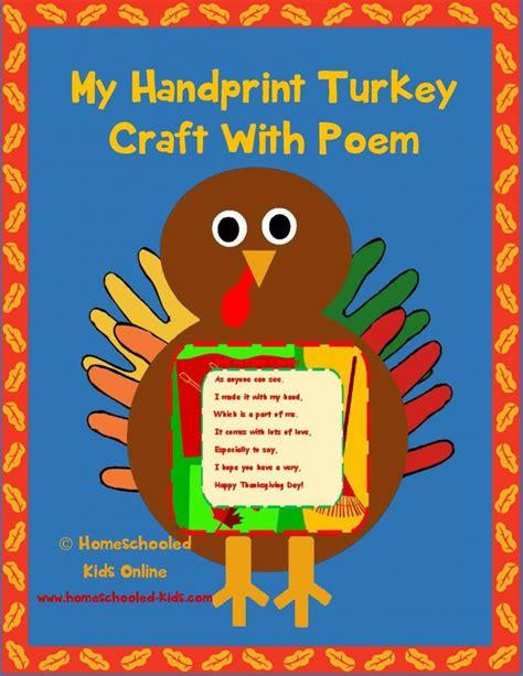 printable turkey poem handprint turkey craft with poem homeschooled kids online