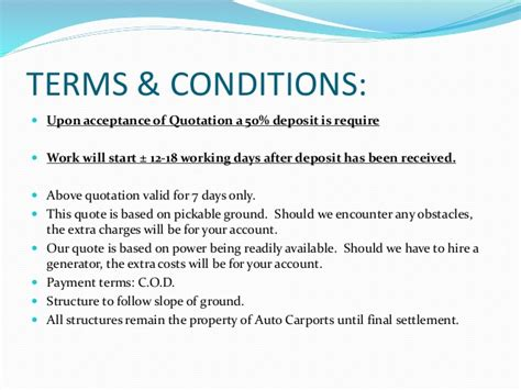 terms and conditions of quotations template auto carports presentation