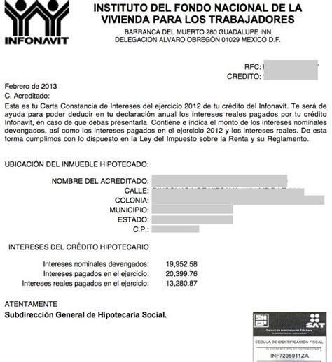 Constancia De Impuestos Del Infonavit | constancia de intereses reales pagados por un cr 233 dito
