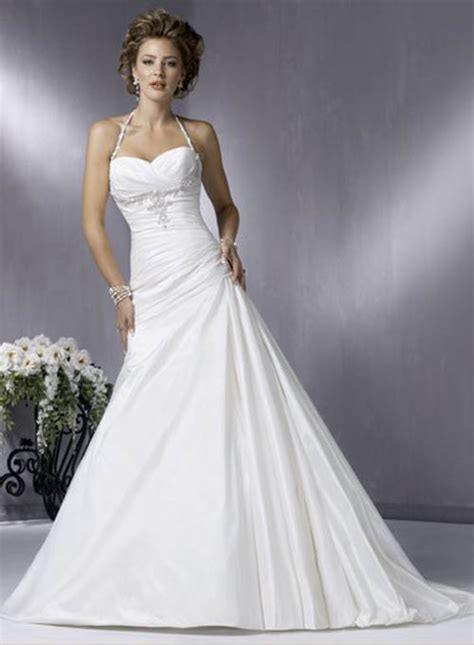 simple a line halter wedding dress sang maestro