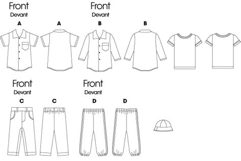 butterick 5510 infants shirt t shirt pants and hat - How To Draw Boat Neckline